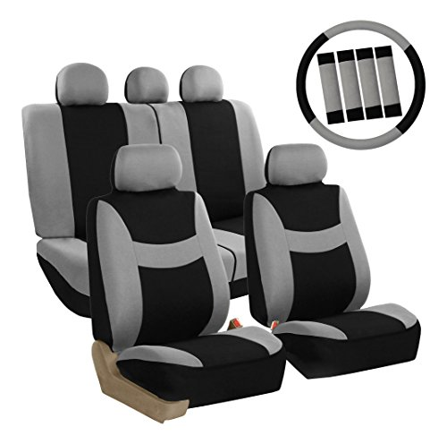 FH Group FB030GRAYBLACK115-COMBO Seat Cover Combo Set with Steering Wheel Cover and Seat Belt Pad (Airbag Compatible and Split Bench Gray/Black) ()