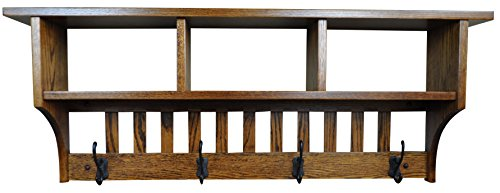 Wood Cubby Coat Rack Shelf Wall Mounted, Mission, 4 Hook, Oak Wood, Michaels Stain Cherry Stain Oak