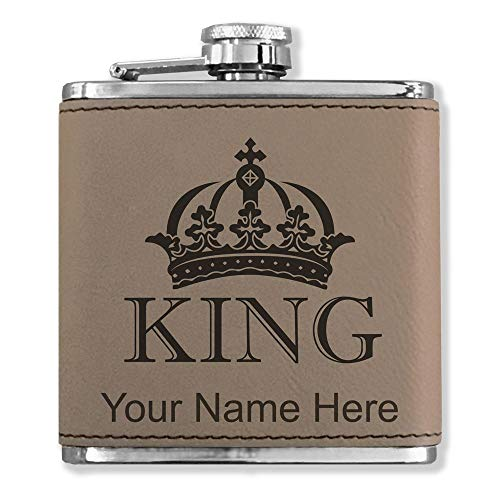 Faux Leather Flask, King Crown, Personalized Engraving Included (Light Brown)
