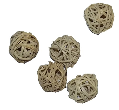 All Natural Mini Vine Balls - Chew Toys For Hamsters, Gerbils, Mice, Parakeets, Finches, and Other Small Pets (Set of Five 1 Inch Wicker Balls)