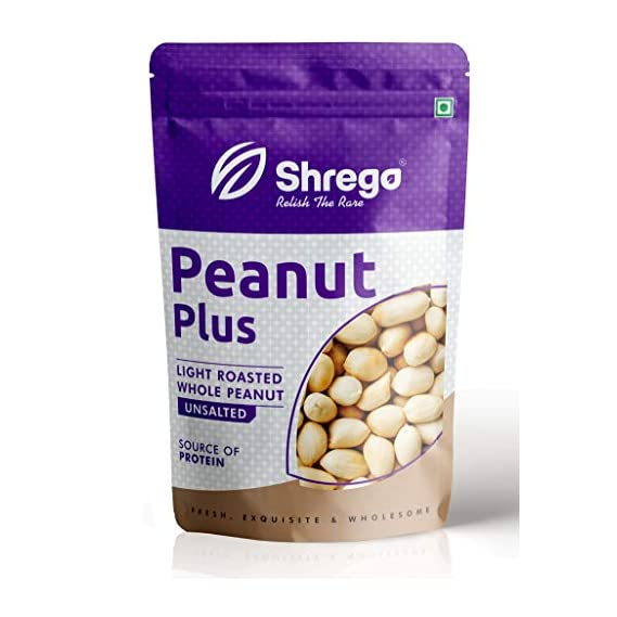 SHREGO Peanut Plus Light Roasted Whole Peanuts Unsalted 400G (2*200G Vacuum Packed)