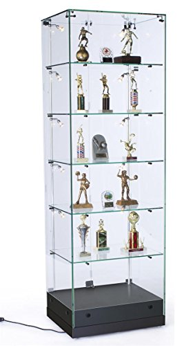 Displays2go Narrow Frameless Glass Showcase, Tempered Glass, Painted MDF – Black, Clear (GTEC24VLBK) by Displays2go