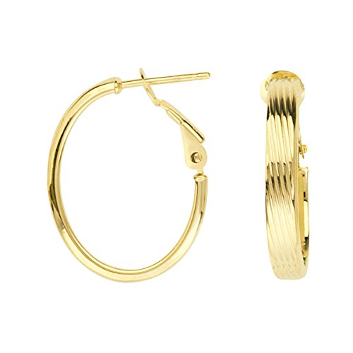 - 14k Yellow Gold Oval Ribbed Hoop Earrings Post with Omega Clip