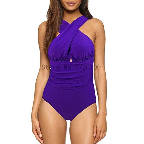 donne nuotata Halter da sexy WC0081Z1 M delle nero trasversale usura della donne costume un solido costumi da pezzo rosse Macxy bagno di bagno Costumi di spiaggia gqEZxZ