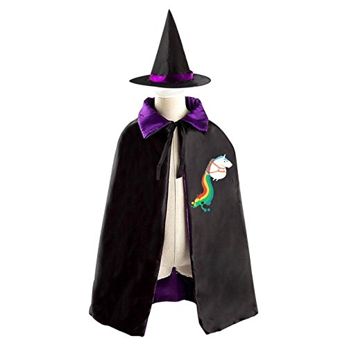 Flying Rainbow Unicorn Reversible Halloween Costume Witch Cape Cloak Kid's (Homemade Unicorn Costume)