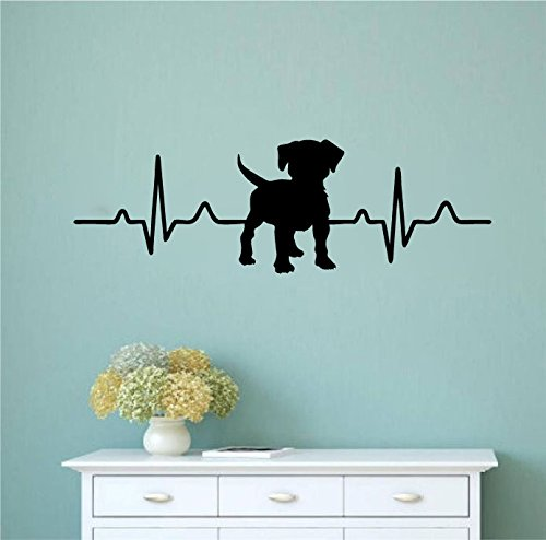 Dog Heartbeat with Customizable Dog Breed Vinyl Wall Decal Sticker Graphic