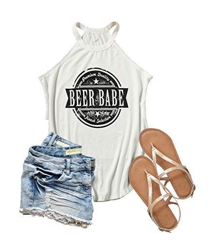 Beer Babe Tank Women Funny Letter Graphic Workout Tank Sleeveless Drinking Tee Top White