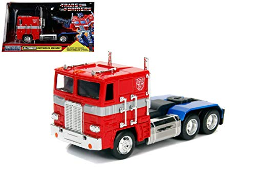 G1 Autobot Optimus Prime Truck Red with Robot on Chassis from Transformers TV Series Hollywood Rides Series Diecast Model by Jada 99477