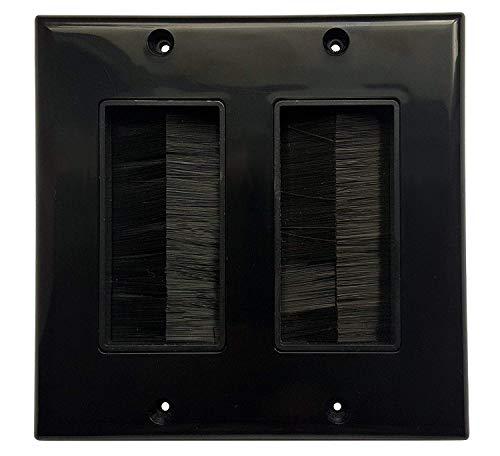 HONGYE 2-Pack Dual Gang Brush Wall Plate (Black)