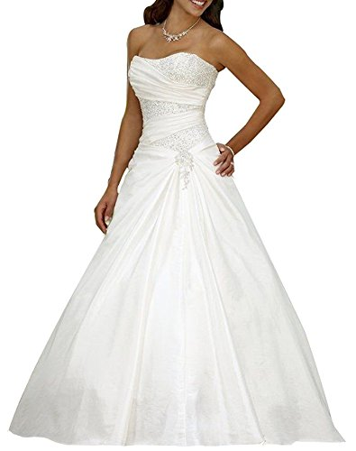 Erosebridal A - Vestido de boda, línea satén beige 46
