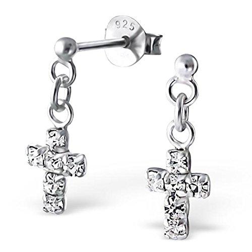 Pro Jewelry .925 Sterling Silver Dangling ''Cross w/ White Crystals'' Stud Earrings 206 by Pro Jewelry