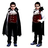 Toddler Kids Boys Girls Halloween Cosplay Costume Cloak with Hood Outfits Set (Black, XL)