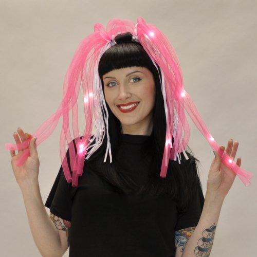 Flashing Panda LED Lgith-UP Flashing Tentacle Noodle Boppers/Dreads Headband, Pink, 1 Headband