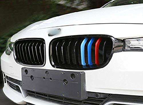 11 Beam bars 1 set M-Colored Kidney Grille Insert Trim TRI Color M Sport Strips Fit BMW 3 F30 4 Series F32 435i Standard Chrome Grill