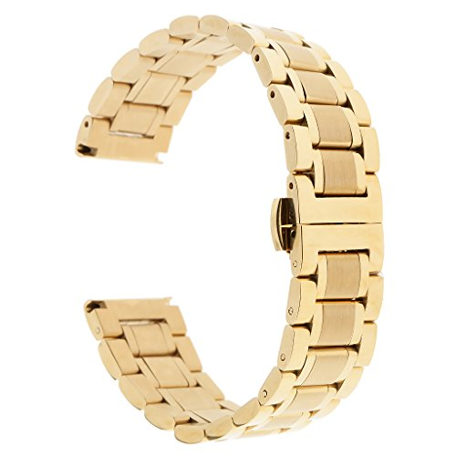 Baosity Solid Stainless Steel Straight Curved End Link Bracelet Watch Band Strap Replacement Double Push Spring Butterfly Deployment Clasp - Gold 19mm
