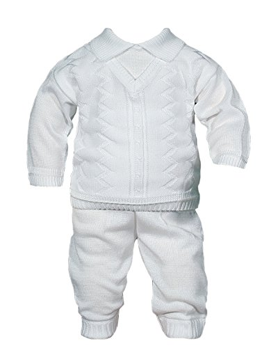 Boys 100% Cotton Knit Two Piece White Christening Baptism Outfit, 03 by Little Things Mean A Lot