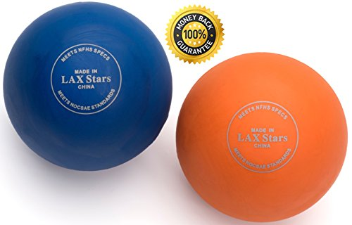 Lacrosse Balls Massage Ball Therapy - Myofascial Tension Release, Fascia Release, Massage Balls for Foot, Massage Balls for Back, Trigger Point Therapy Balls, Yoga, Pack of 2 Balls (Orange & Blue)