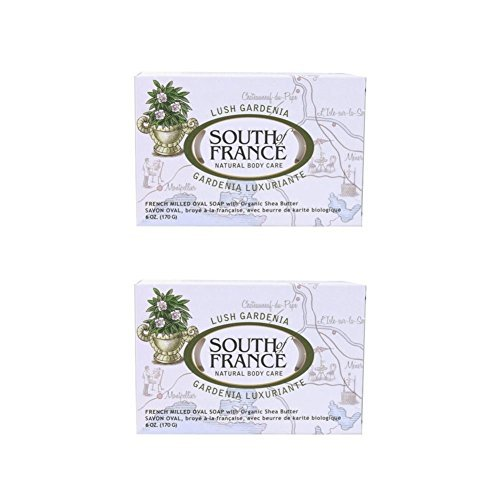 South Of France Milled Bar Soap, Gardenia, 6 Ounce (Pack of 2)