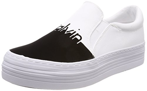 Calvin Klein Jeans Women's Zinah Nylon/Flocking Slip on Trainers White (Wba 000) qJguYQN