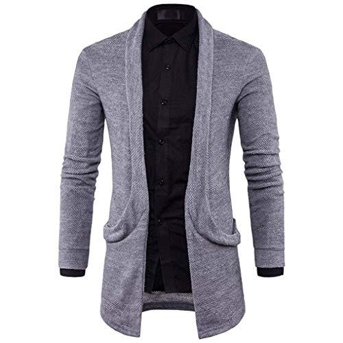 Automne Slim Printemps Fit Mens Mode Tricot Long Pull Manches À Longues Dot Manteau De Vintage Veste Grau Cardigans Trench Solide OdPw5qP