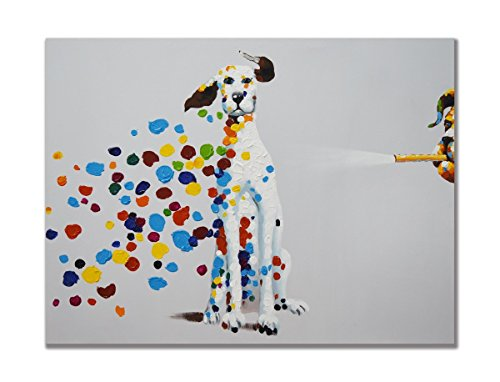 100% Hand Painted Oil Painting Animal Mischievous Dog Blowing Bubbles Funny Artwork for Home Decor 24x36 Inch