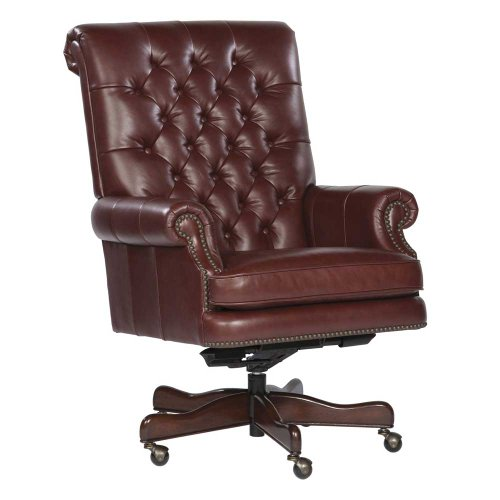Hekman Executive Chair Furniture - Tufted Leather Executive Office Chair Color: Merlot
