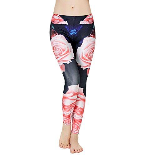 Idingding Womens Hot Sale Galaxy Star Printed High Waist Leggings Pants, Rose, L