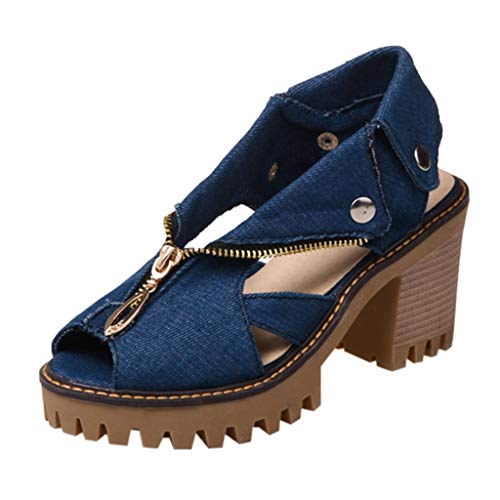 CCFAMILY Women's Cuffed Denim High Heel Sandals Ladies Vintage Thick Platform Fish Mouth Casual Shoes Dark Blue