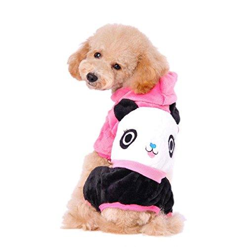 [Elevin(TM) Dog Pet Cartoon Panda Hoodie Warm Sweater Puppy Coat Apparel Clothes (S, Hot Pink)] (Pet Panda Costume)
