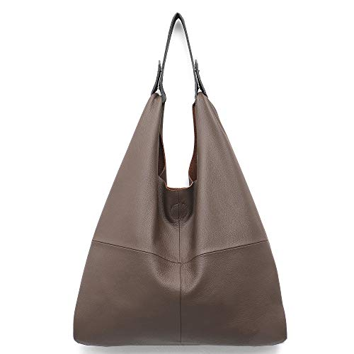 STEPHIECATH Women's Handbag Genuine Leather Slouchy Hobo Shoulder Bag Large Casual Soft Handmade Tote Bags Ladies Vintage Bucket Snap Shopping Bag with Zipper Cellphone Liner Bag Inside (Clay)