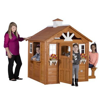 Children Playhouse Kids Play Fun Outdoor Garden Log Cabin Fort Cottage Backyard ()