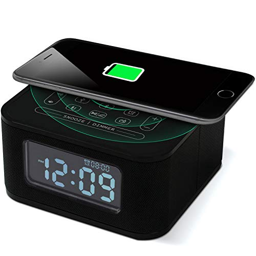 Homtime Wireless Charging Alarm Clock with Radio Bluetooth Speaker for Bedrooms,Wireless Charger for iPhone X,Snooze,4 Dimmer,USB Charger Port,Hands-Free,Black