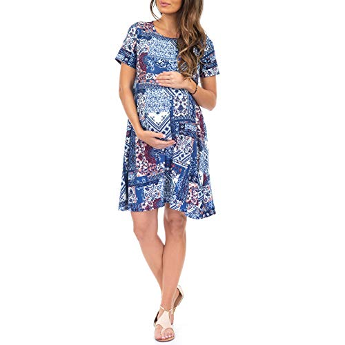 (Mother Bee Maternity Women's Maternity T Shirt Dress with Pockets)