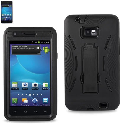 Reiko RKSLCPC06-SAMI777BK Hybrid Case with Kickstand for AT&T Models and Samsung Galaxy SII Attain (i777) - 1 Pack - Black