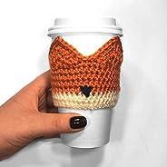 Fox Reusable Crochet Coffee Cup Cozy Sleeve