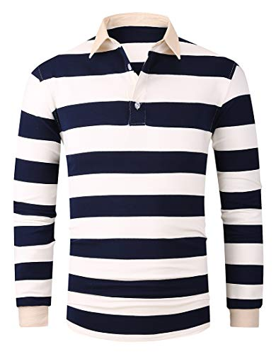 FRTCV Mens Polo Shirts Casual Long Sleeve Slim Fit Shirts US XS/Asian L Stripe 2004 ()