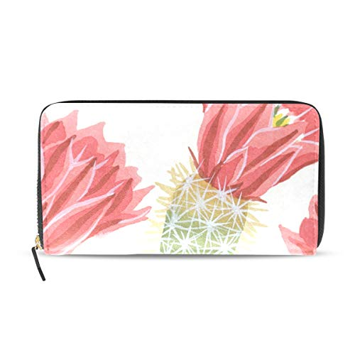 Price comparison product image Womens Wallets Pink Cactus Flower Leather Passport Wallet Coin Purse Girls Handbags