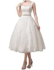 Jdress Womens Vintage Short Tea Length Lace Wedding Dresses for Bride 2017