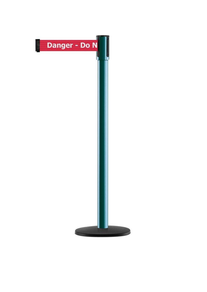 Tensabarrier - 890B-33-28-28-STD-NO-RIX-C - green post, 2'' wide, 7'6'' length red Danger Do Not Enter belt