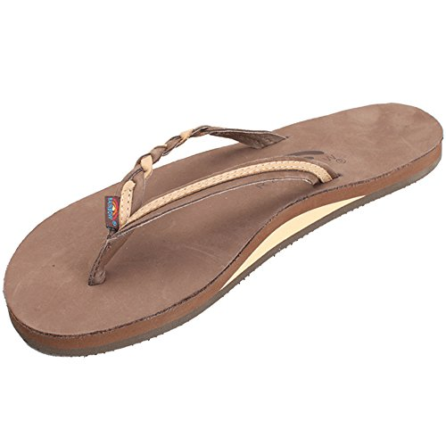 (Rainbow Sandals Women's Flirty Braidy Premier Leather w/Single Braided Strap, Expresso/Sierra Brown, Ladies Medium / 6.5-7.5 B(M) US)