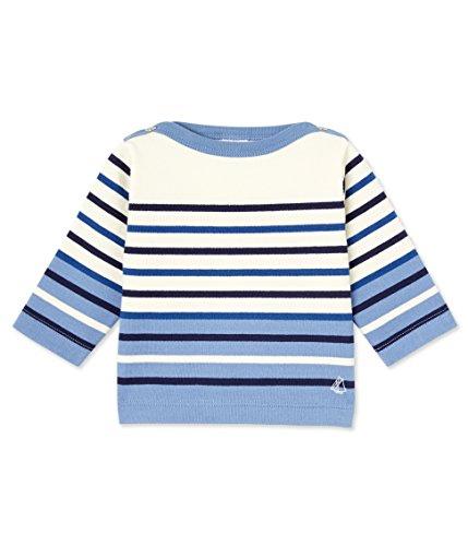 Petit Bateau Boys' Striped Sweatshirt, Blue Cream, 0-3 Months Baby (Bateau Cotton Sweatshirt Petit)