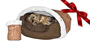 BedHug BEST Dog Blanket, Cat Blanket - Attaches to Your Own Pet Bed - Soft Burrow, Luxury Bed Blankets, MADE IN USA (Brown)- SMALL