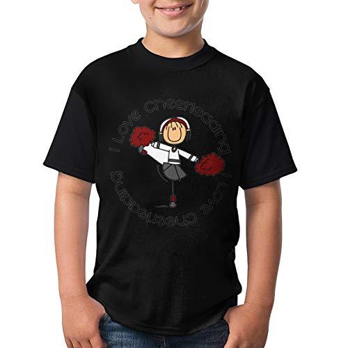 - Hhyingb I Love Cheerleading Stick Figure Cheerleader Teenagers Lovely Short Sleeve T-Shirt L Black