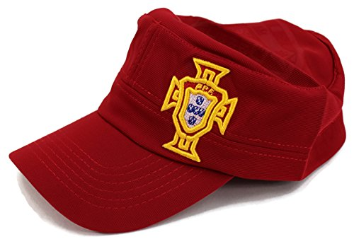 Embroidered Print Rugby (High End Hats World Soccer / Football Team Military Hat Collection Embroidered Flexfit Army Style Cap, Portugal National Football Team, Red)