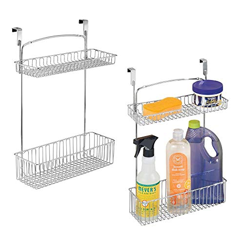 mDesign Metal Farmhouse Over Cabinet Kitchen Storage Organizer Holder or Basket - Hang Over Cabinet Doors in Kitchen/Pantry - Holds Dish Soap, Window Cleaner, Sponges - 2 Pack - ()