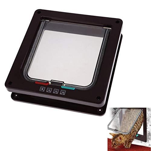 1 PC Coffee 4 Ways Lockable Dog Cat Kitten Door Security Flap Door ABS Plastic Animal Small Pet Cat Dog Gate Pet Supplies Size M ()