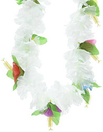 Silk 'N Petals Carnation Lei (white petals w/multi-color flowers) Party Accessory  (1 count) -