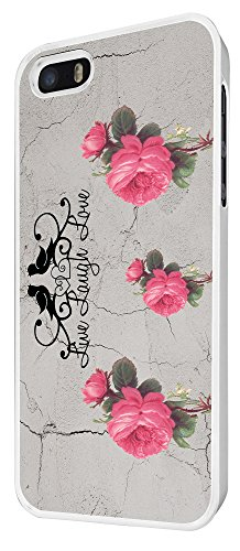582 - Red Roses Shabby Chic Vintage Live Love Laugh Floral Roses Design iphone 5 5S Coque Fashion Trend Case Coque Protection Cover plastique et métal - Blanc