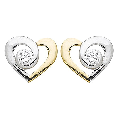 So Chic Jewels - 9k Yellow Gold - Heart 2-Tone Cubic Zirconia Stud Earrings by So Chic Jewels