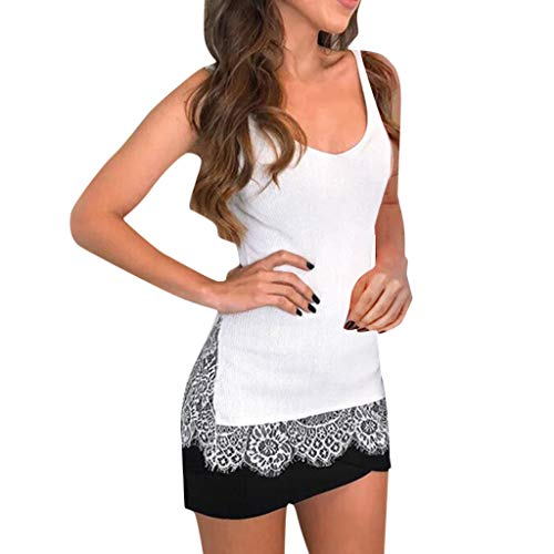 (Misaky Women's Casual Off Shoulder Lace Tops Short Sleeve T Shirts Lose Tank Tops(White, L))